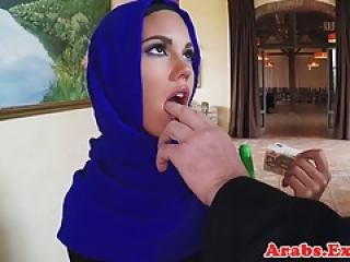 Veiled arab amateur paid for cum in mouth