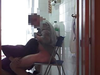 Colombian broad bangs her boss' son in the kitchen!