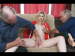 young blonde with oldmen
