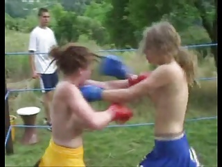 Topless College Cheerleader Boxing