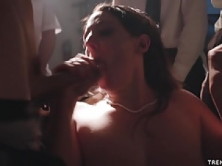 Angela White gangbang in a garage