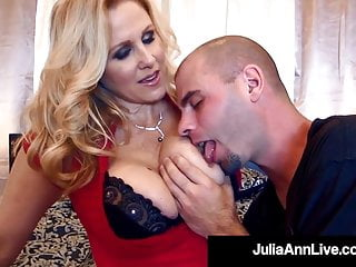 Busty Hot Cougar Julia Ann Bangs 2 Hard Rock Cocks!
