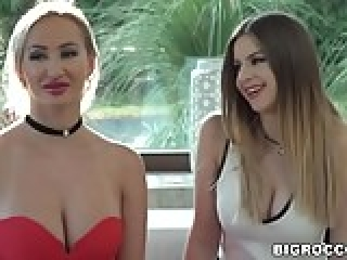 Stella Cox and Lara Onyx share a monster cock anally