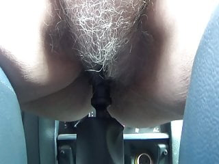 white vagina hair old slut sticks gear in her pussy