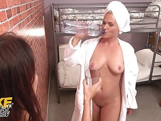 Fake Hostel, French babe with natural big tits eats pussy