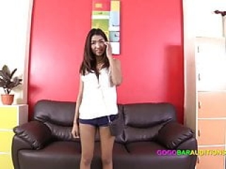 Chesty Asian babe auditions on casting couch