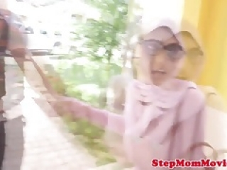 Hijab mom doggy style with muslim teen in ffm