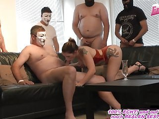German bukkake sexparty with cum swallow slut userdate orgy