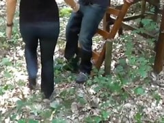 Hot & Busty MILF Pleasing Random Stranger In woods