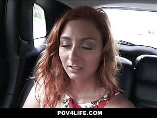 Teen Redhead Fucked To Orgasm In Car By Uber Driver, POV