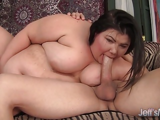 Succulent Fat Babe Blows a Guy and Gets Her Pussy Plugged