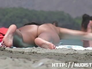 Shy nude couple caught on the nudist beach