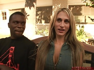 Slutty Sarah Jessie takes 2 big black cocks