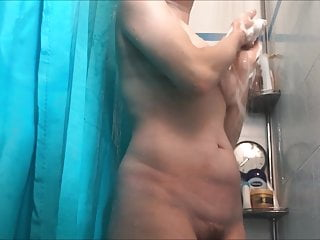 Saggy hairy milf wife showers + cleans pussy