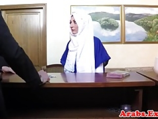 Veiled muslim babe licks balls and cock sucks